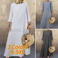 Women's 3/4 Sleeve Cotton Baggy Kaftan Casual Loose Maxi Dress Shirt Dress Plus