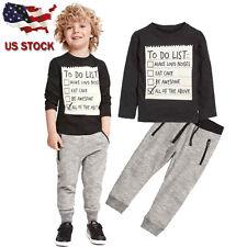 2PCS Toddler Kids Baby Boy Clothes Outfits T-shirt Tops Long Pants Set Tracksuit
