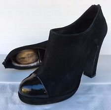 FLORSHEIM LEATHER BLACK SUEDE PLATFORM ANKLE BOOTS SIZE 38 RRP$200+ ***STUNNING!