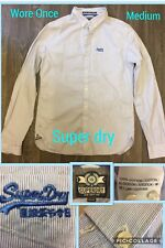 Mens SUPERDRY Blue and White Pin Striped Shirt, Medium. Worn Once!!! 100% Cotton