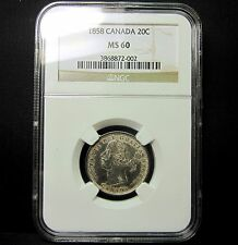 1858 CANADA 20 CENT PIECE ✪ NGC MS-60 UNCIRCULATED ✪ 20C UNC BU L@@K ◢TRUSTED◣