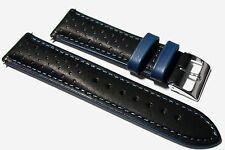 Italiano Cuero Negro/Azul Rally Reloj Correa Forrado + Hebilla 18 , 20 & 22mm