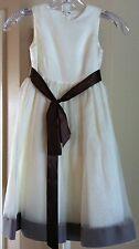 New WA WA by Watters Girls Size 4 Ivory 100% Silk & Organzia Formal Gown Dress