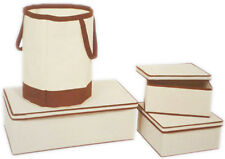Set of 4 Flat Pack Canvas Fabric Storage Box Boxes (with Laundry Hamper)