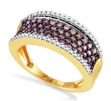 Chocolate Brown Diamond Cluster Band 10K Yellow Gold ,79ct Ring - White Accents