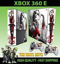 XBOX 360 E HARLEY QUINN ARKHAM ASYLUM BATMAN SKIN SUPERSLIM  & 2 PAD SKIN