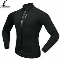 Mens Thermal Fleece Cycling Jacket Long Sleeve Jersey Windproof Winter Warm Coat