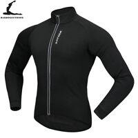Mens Cycling Jacket Thermal Fleece Long Sleeve Jersey Windproof Winter Warm Coat