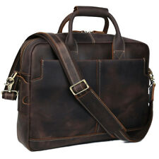 "Men's Real Leather Briefcase Attache Case 16"" Laptop Cross Body Messenger Bag"