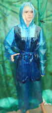 shiny blue glass c thro pvc vinyl raincoat hooded raincoat tv fetish XXL smooth