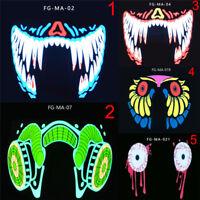 LED Luminous Flashing Face Mask Party Masks Light Up Dance Halloween Cosplay P&C
