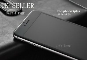 For iPhone 7 Plus Black Full Cover Tempered Glass 3D Curved Screen Protector