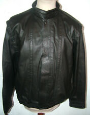 Retro 1980s Black Leather Bomber Jacket 50 To Fit 40-42inch