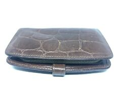 Mulberry Croc Embossed Brown Leather Zip Around Purse Wallet Womens