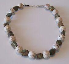 "Santo Domingo 20"" Long Turquoise/White Buffalo Necklace by Matthew Moquino"
