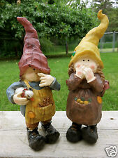 Children Gnomes Set of 2 Kids Boy Gnome 2 Girls Duck Under Arm 9 in. A.Fisher