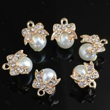 10pcs Rhinestone Pearl Bow Charms Pendants Jewelry Findings for DIY Necklace