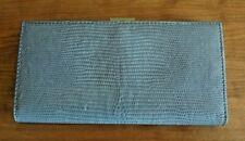 Ann Taylor Light Blue Embossed Reptile Pattern Leather Wallet Metal Frame