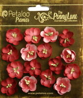 Forget Me Nots ANTIQUE RED 16 Paper Flowers 20-24mm across Penny Lane Petaloo