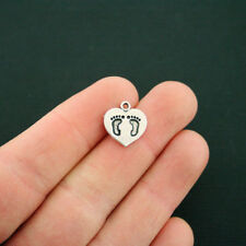 10 Baby Feet Charms Antique Silver Tone Footprints On Heart - Sc6596