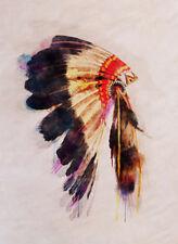 NATIVE INDIAN HEADDRESS WALL ART * QUALITY CANVAS PRINT
