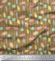 Soimoi Brown Cotton Poplin Fabric Crystals & Stripe Fabric Prints-FPu