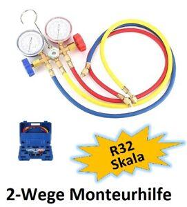 2-Wege Monteurhilfe für Kältemittel R32, 150 cm lange Schläuche, im Tragekoffer
