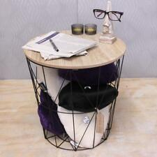 Wooden Side Table Metal Wire With Lid Storage Basket Round Coffee Bedside