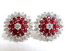 6.26ct natural vivid red ruby diamond domed cluster clip earrings 18kt.