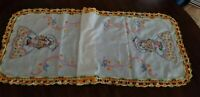 Embroidery and Crochet Little Girl Table Runner or Dresser Scarf / 38 inch