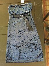 NWT Guess Night Shade Blue velvet strapless dress M Medium $89