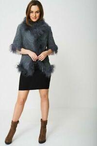 Ladies Vintage Gilet Jacket Grey Coat Real Fur Suede Leather Lamb Fur Vest M L