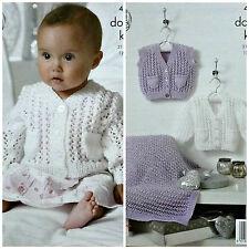 Knitting Pattern Baby V-Neck Pizzo Cardigan tasche panciotto Coperta DK 4397