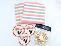 Vintage 30 Pieces, Pink Stripe Paper Napkins & Floral, Coasters Chicken Coasters