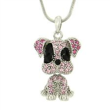 """Dog W Swarovski Crystal Puppy Pet Pink Color Necklace Movable Pendant 18"""" Chain"""