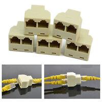 5 Pcs RJ45 Splitter Adapter 1 to 2 Female Port CAT 5/CAT6 LAN Ethernet US SELLER
