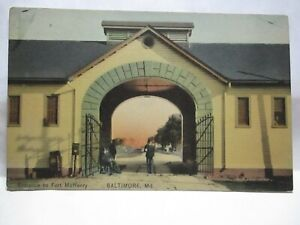 WWI HAND COLORED POSTCARD ENTRANCE TO FT McHENRY, BALTIMORE MD W/ SOLDIER UNUSED