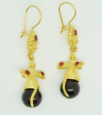 OttomanGems semi precious gem stone gold plated earrings Agate dragon fly design