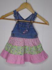 42fd8f23253 Baby Girl OshKosh Bgosh 18M Dress Vestbak Floral Tiered Denim Overall Jumper