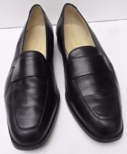 Womens Saxone Black Leather Slip on Shoes - Size UK 6