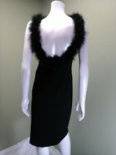 bebe Moda Black Cocktail Dress W/ Faux Fur Trim Neckline~ Size L