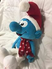 "Macy's 2010 Holiday Christmas Santa Hat Large The Smurfs Smurf 21"" Soft Plush"