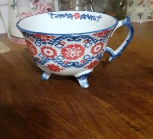 New Joyye tea cup blue/white/red floral feet pretty kitchen coffee collectable