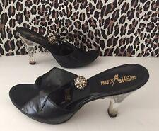 New listing 50's Springolators Lucite Flower Heels Glam Rhinestone Ball Charms Vintage Black