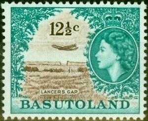 Basutoland 1962 12 1/2c Brown & Turquoise-Green SG76 Fine Lightly Mtd Mint