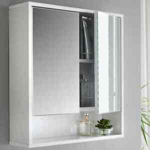 Sleek Stylish Norsk High Gloss Mirror Cabinet Perfect Bathroom Storage - White