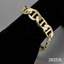 2825- Flat Mariner link Anchor 13mm Men's Bracelet 14K Gold Plated Chapa de Oro