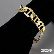 2825- Flat Mariner link Anchor 13mm Men's Bracelet 14K Gold Plated Chapa de Oro