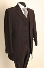 MJ-154 MENS THREE PIECE BROWN WEDDING/FORMAL PINSTRIPE SUIT 50% CLEARANCE PRICE