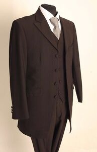 MENS THREE PIECE BROWN WEDDING/FORMAL PINSTRIPE SUIT 50% CLEARANCE PRICE MJ-154